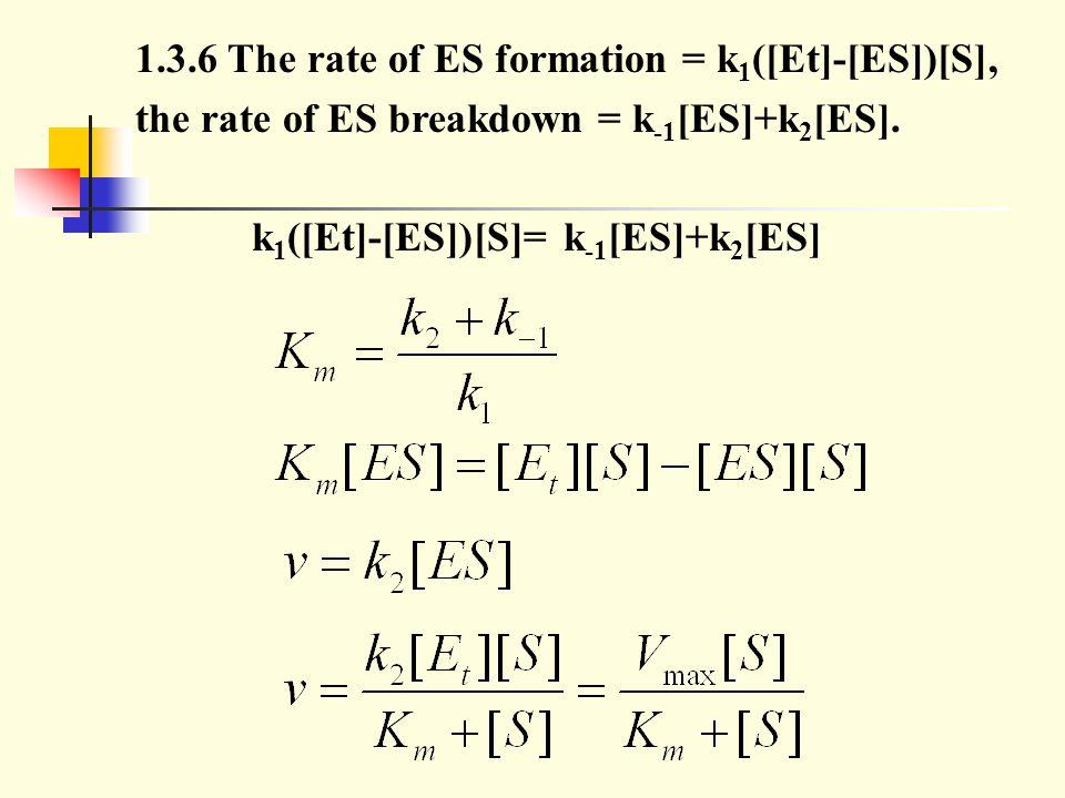 the rate of ES breakdown = k-1[ES]+k2[ES].